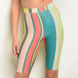 Peach & aqua striped biker shorts